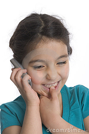Little Girl Is Is Listening To Her Mobile Phone