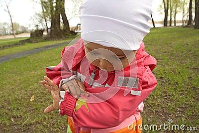 Little Girl Looking at Ladybug