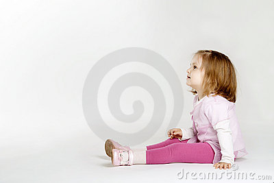 Little girl looking up