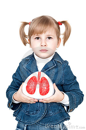 Little girl with lungs