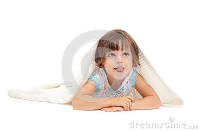 Little girl lying on the floor