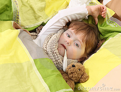 Little girl lying sick