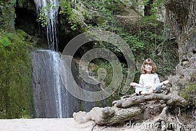 Little girl meditate