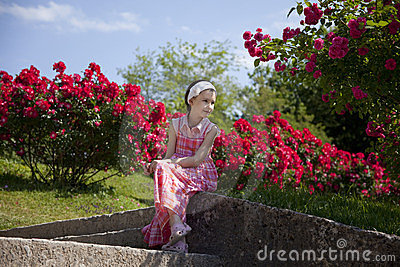 Little girl in Mirabell gardens