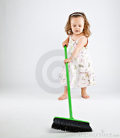 Little girl with mop