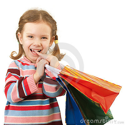 Little girl with multi-colored packages