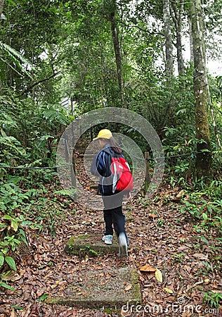 Little girl on nature trekking hike in forest