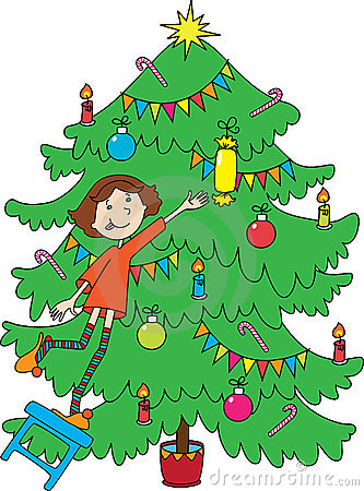 Little girl near christmas-tree