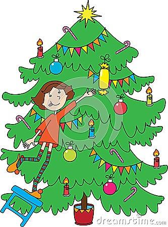 Little girl near christmas-tree