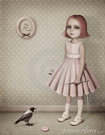 Little girl with a needle, thread and a raven.