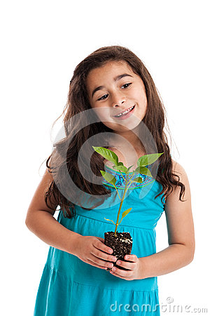 Little girl with new plant