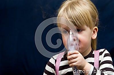 Girl with inhalator
