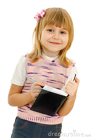 Little girl with notebook