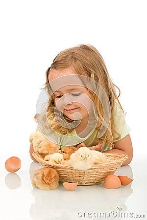 Little girl observing her chicken babies
