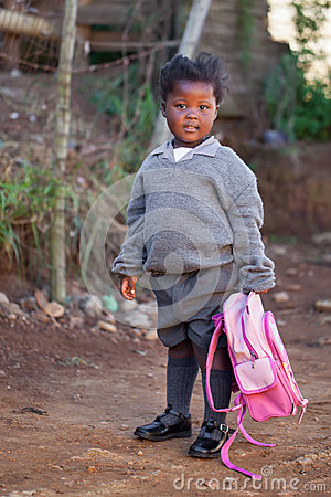 Little girl Off to school