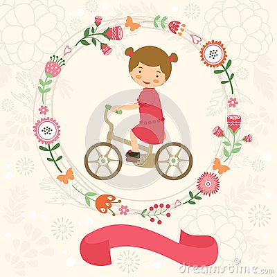 Free Little Girl On Bycicle Royalty Free Stock Images - 39327029