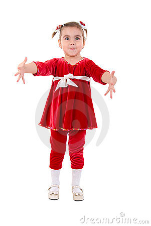 Free Little Girl Open Arms. Royalty Free Stock Photography - 12576857