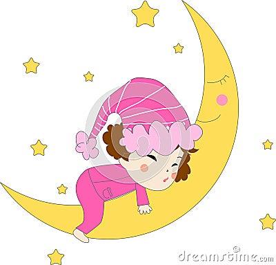 Little girl in pajamas sleeping