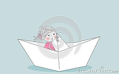 Little girl in paper boat