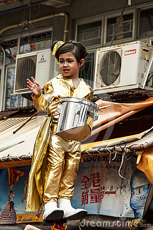 Little girl of Parade-in-the-air Editorial Stock Image