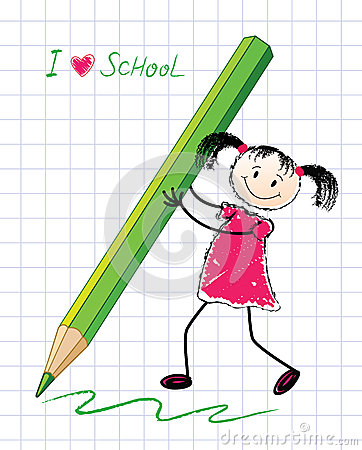 The Little Girl With A Pencil. Royalty Free Stock Images - Image: 25702869