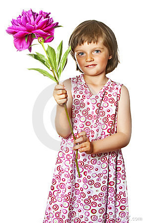 Little girl with  peony flower