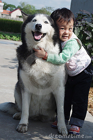 Little girl with pet