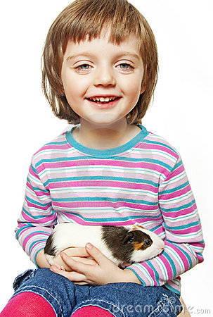 Little girl and pet - guinea pig