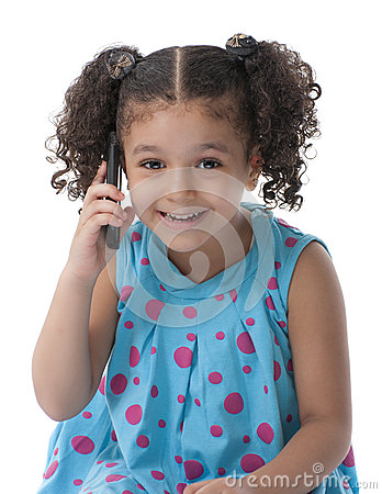 Little Girl With Phone Call