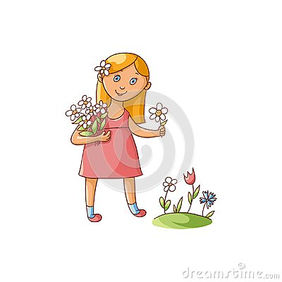 Free Little Girl Picking Flowers On Summer Field Royalty Free Stock Image - 101285106