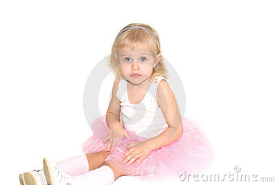 Little girl in a pink ballet pack