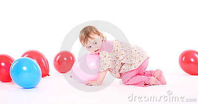 Little girl in a pink pajamas