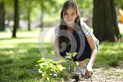 Little girl planting a tree