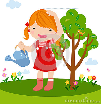 A little girl planting a tree