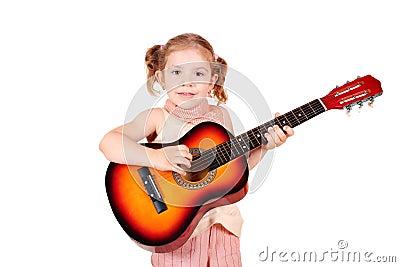 Little girl play acoustic guitar