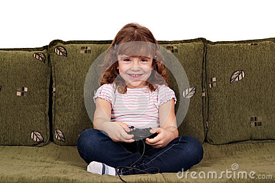 Little girl play video game