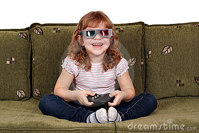 Little girl play video games