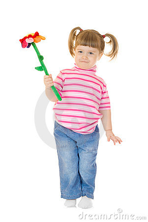 Free Little Girl Play With Toy Flower Stock Photography - 13694722