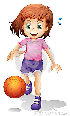 A little girl playing basketball