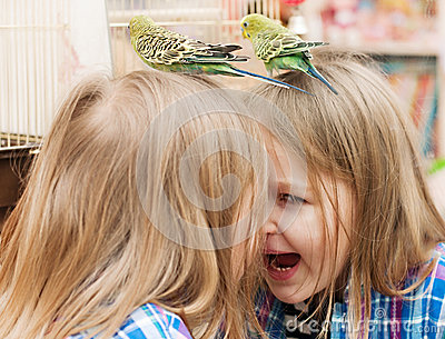 Little girl playing with parrot