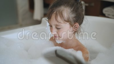 Little Girl Playing With Shower Attachment While Taking The Bath. Happy Child Girl In The Shower. Positive Little Girl Stock Footage - Video of bathroom, adorable: 150412324