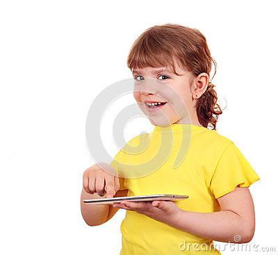 Little girl playing with tablet pc