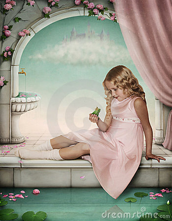 Free Little Girl Playing With A Frog-prince. Royalty Free Stock Photography - 17018507