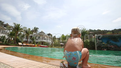Little Girl Plays With Father Near Pool Stock Footage Video 57774458