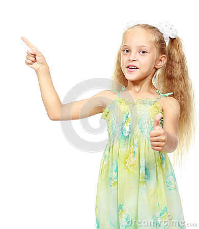 Free Little Girl Pointing Finger On A White Background Stock Photography - 32566732