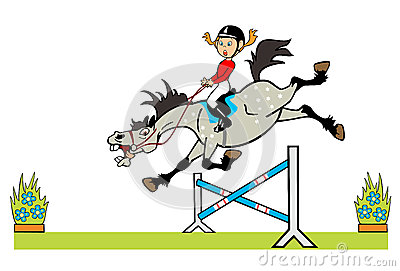 Little girl with pony jumping a hurdle