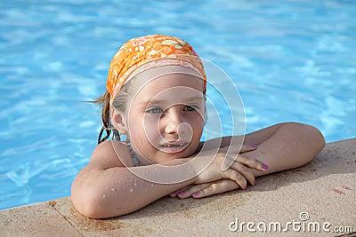 Little girl in pool.