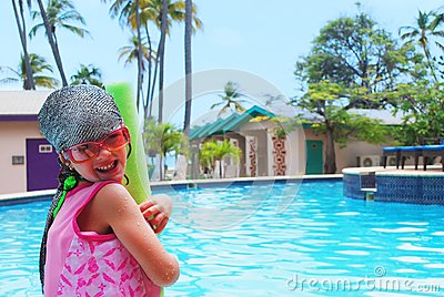 Little girl and pool