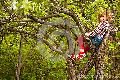 Little girl posing sitting on a tree