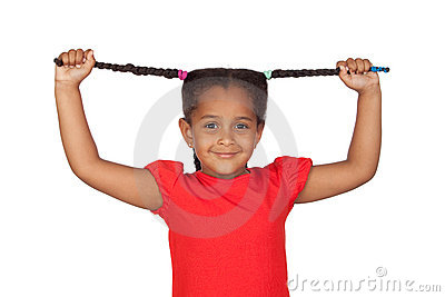 Little girl pulling their long tresses